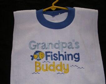 Grandpa's Fishing Buddy Boys bib