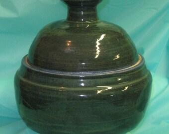 Lidded Casserole  Baking Dish Ovenware Pottery Dish Stoneware Casserole Baking Dish Handmade Stoneware Kitchen Pottery Green Lidded Bowl