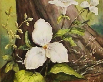Floral Watercolor Painting Original Fine Art  Wall Art Framed