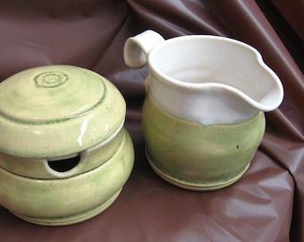 Creamer and Sugar Bowl Set Handmade Pottery Ceramic  Green Kitchen Pitcher Lidded Jar