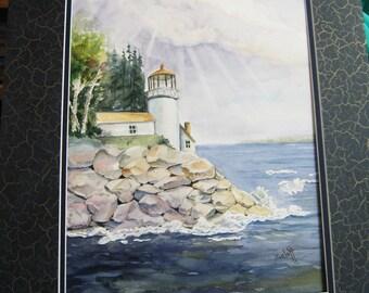 Watercolol Painting  Lighthouse  Original Painting Fine Art Wall Art