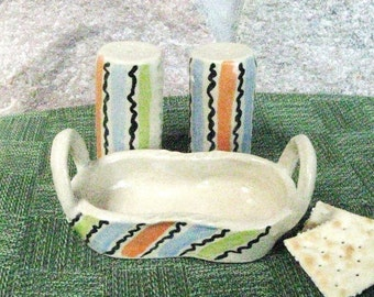 Salt and Pepper Shaker Set  Stoneware Handmade Pottery