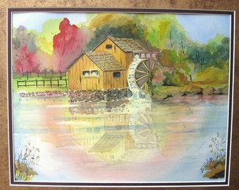 Watercolor Painting Landscape Handmade  Water Wheel Original Art