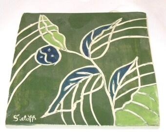 Green Ceramic Tile Abstract Design Handmade Pottery