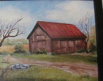 Landscape art Original Acrylic Painting Arts and Crafts Barn Art Housewarming Gift Home Decor