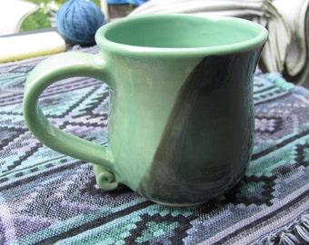Ceramic Mug Handmade Tea Cup Green  Stoneware Pottery