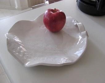 Ceramic Platter Home Decor Pottery Platter White Serving Platter Ceramic Tray  Pottery Handmade Free Form Dish Stoneware Pottery