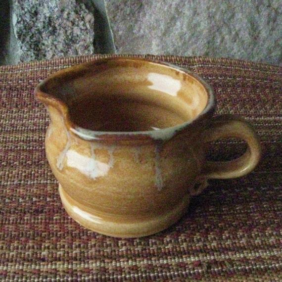 Small Creamer Pitcher Handmade Pottery Ceramics Clay Amber Gold