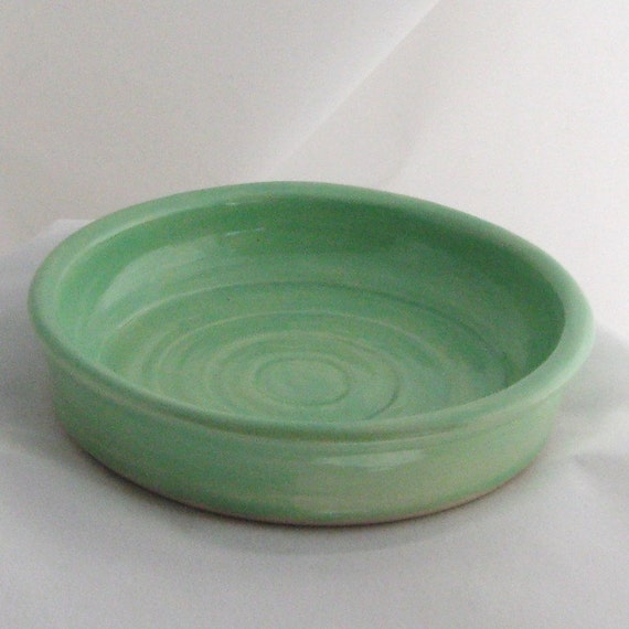 Cupcake Plate, Spoon Rest Soap Dish Handmade Pottery Turquoise Green Ceramics