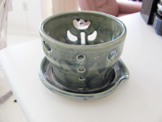 Berry Bowl or Orchid Planter  Ceramic Pottery  Handmade Stoneware Clay Food Safe Sea Green with Blue Glaze
