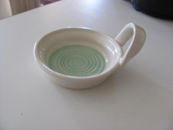 Candle Holder Tea Bag Holder Handmade Turquoise Pottery Stoneware Ceramics