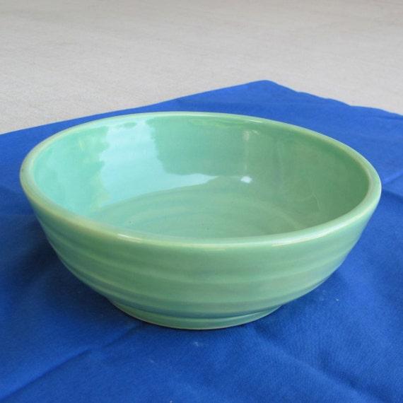 Pottery Bowl  Handmade Stoneware Ceramics  Turquoise Green