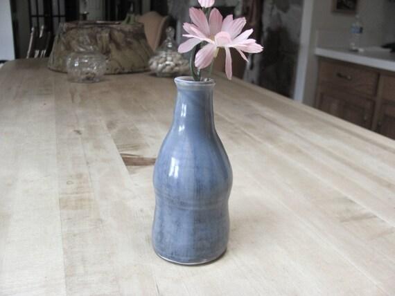 Handmade Bud Vase Ceramic  Flower Vase  Stoneware Blue Window Sill Pottery