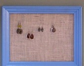 Sale - Blue Burlap Earring Hanger