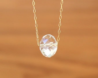 Gold Clear Crystal Pendant Necklace Simple Everyday Barely There Dainty - Delicate Simple Modern Minimalist Jewelry - SHIRLEY by 5050 Studio