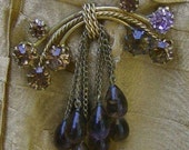 FREE SHIPPING - Vintage Brooch with Rhinestone and Glass Teardrops