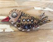 Bird 2 - Polymer Clay Art Brooch - Wearable Art - OOAK - free shipping etsy