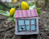 Spring Pendant - Little Birdhouse - Polymer Clay Jewelry - Handpainted