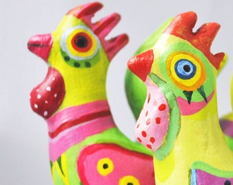 ceramic sculpture -Handpainted Clay Rooster Whistle - home  decor- green