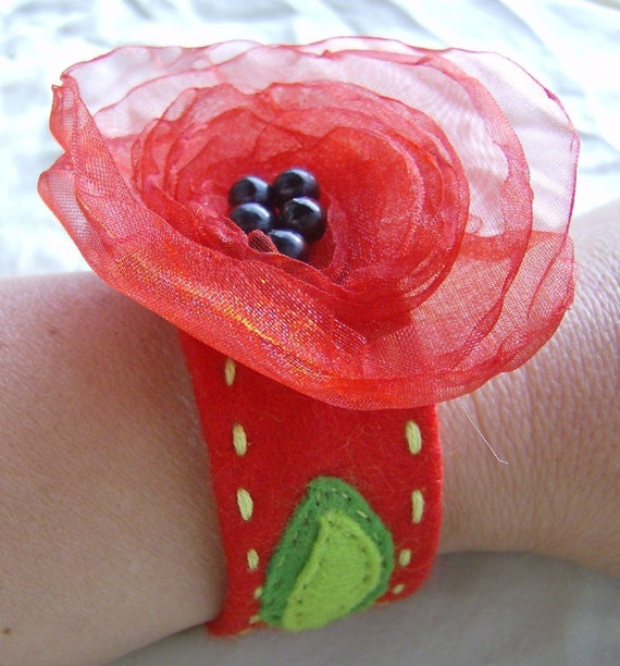 Felt Cuff Bracelet  with Organza Flower