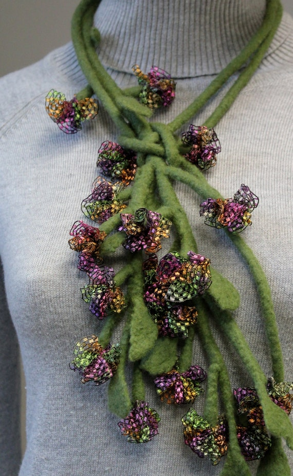 """Felted necklace """"Plant"""""""