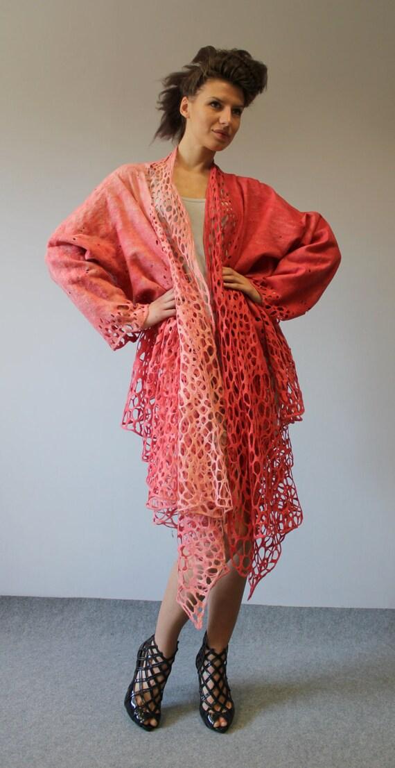 """Felted free size Jacket kimono """"Lady rose"""""""