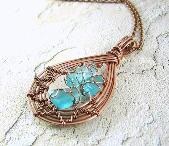 Antiqued Copper and Sea Glass Wire Wrapped Pendant Necklace
