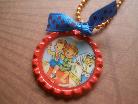 carousel sweeties bottlecap necklace