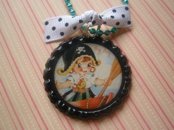 pretty pirate bottlecap necklace