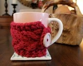Mug Cozy Hand Knit in Cranberry Red