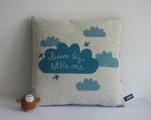 Hand Screen Printed Dream Big Cushion in Teal