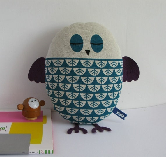 Hand Screen Printed Owl in Teal
