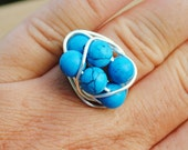 Wire Wrapped Ring Beaded Cocktail Ring Turquoise Beach Non Tarnish Silver Plated Wire