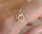 Adjustable Wire Wrapped Ring Dangle Heart Charms Gold and Silver
