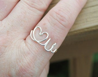 Word Ring, Wire Word Ring Adjustable Wire Ring, Word Ring LOVE YOU Heart Romance Non Tarnish Silver Plated Wire