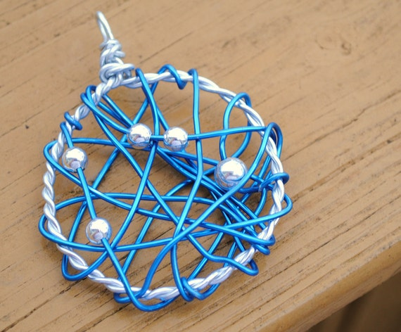 CLEARANCE Wire Wrapped Necklace Charm Blue Constellation