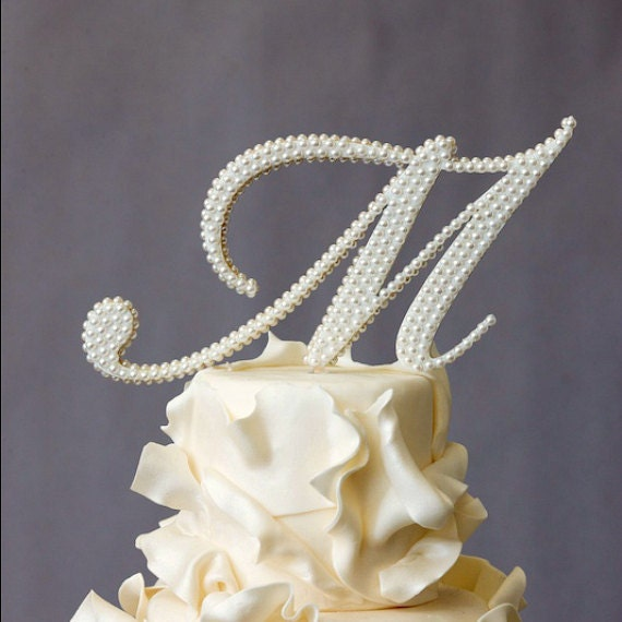 Wedding Cake Topper Monogram Pearl Covered By WeddingsEtc