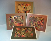Autumn Leaf, Harvest, Thanksgiving Note Cards, Set of 4 with Envelopes and Closure Seals