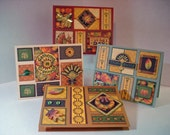 Thanksgiving, Autumn Harvest Note Cards, Set of 4 with Envelopes and Closure Seals