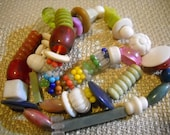 Ca 1960s New Orleans Mardi Gras Beads - Multicolored Plastic - Hand Strung