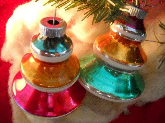 Ca late 1950s 2 lg shiny brite tops or tree ornaments wonderful