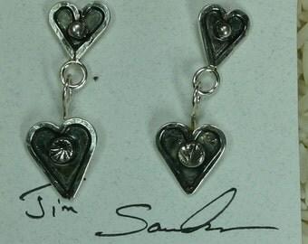 Sterling silver heart earrings,  JS-er-002
