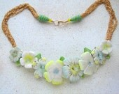 Flower garden Necklace 1 white yellow pink and blue