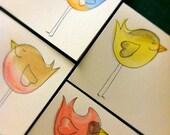 Handmade Spring Birds Greeting cards pk/4 Robin, Cardinal, Finch and Bluebird