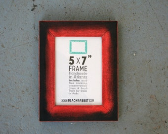 Red and Black Handmade Picture Frame (5 x 7 inches)