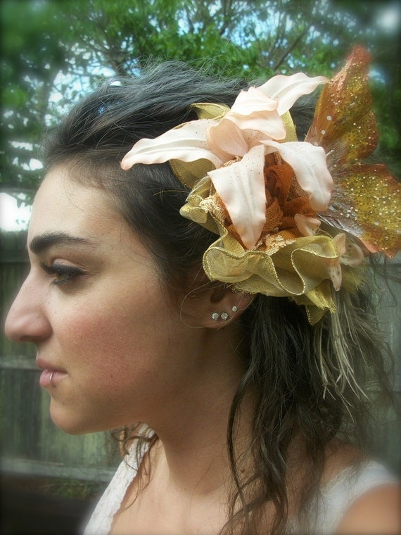 Hair Fascinator- Something in Peach- Large size