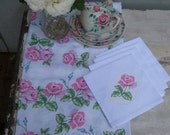 Shabby Chic Rose Tablecloth and Napkins