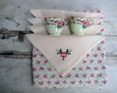 Rose Tablecloth & Vintage Cross Stitch Napkins