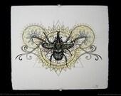 Xylotrupes Gideon Automata Sagrada - Watercolor and  Screen Print on Paper