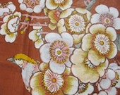 1970s Vintage Jay Yang Burnt Orange and Gold Cotton Chintz Fabric Birds and Spring Branch Blossoms